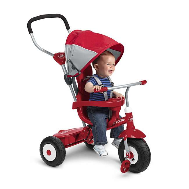 816Z Radio Flyer Sport 4 in 1 All Terrain Kids Stroll 'N Trike Ride On Tricycle, Red 2