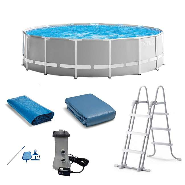 26725EH + 28002E Intex Above Ground Pool w/ Ladder, Cover & Kit