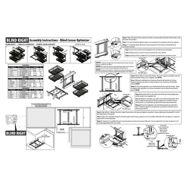 5PSP-15-CR Rev-A-Shelf 5PSP-15-CR 15 Inch Chrome Blind Corner Kitchen Cabinet Organizer 5