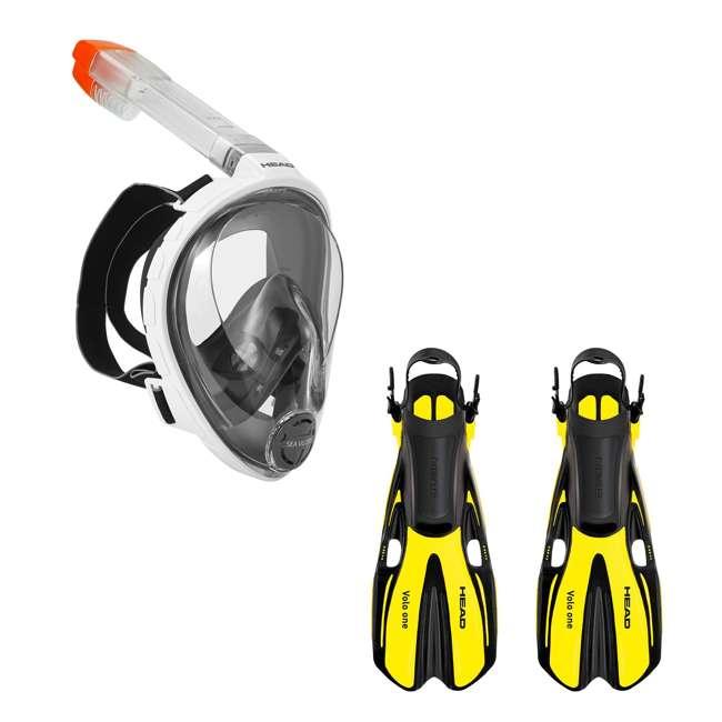 496325-WHBKS/M + 480203SFYLML Head Sea Vu Dry Full-Face Adult S/M Snorkel Swim Mask & M/L Fins