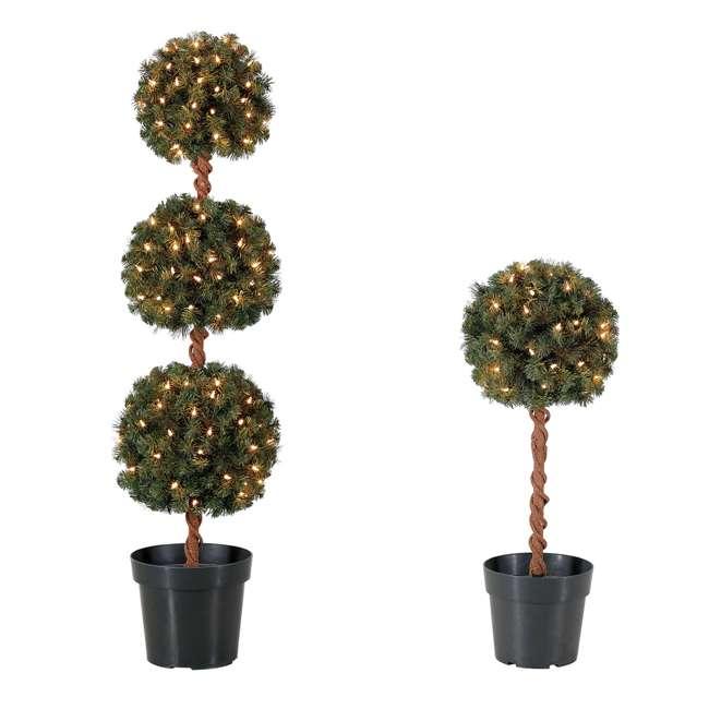 TP40M2W72C09 + TP26M2W72C00 Home Heritage 4 Ft Artificial Tree w/ Lights + 2.5 Ft Artificial Tree w/ Lights
