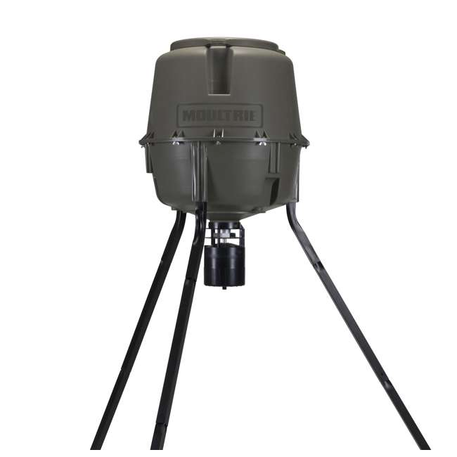 MFG-13062 + MFHP12406 Moultrie 30 Gallon Adjustable Quick-Lock Tripod Deer Feeder + 6 Volt Battery 1