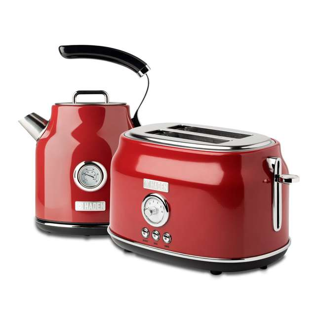 75000 + 75001 Haden Stainless Steel Retro Toaster & 1.7 Liter Stainless Steel Electric Kettle