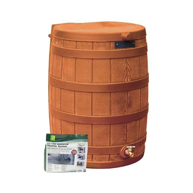 RW50-DIV-TC Good Ideas Rain Wizard Collection Barrel 50-Gallon w/ Diverter Kit, Terra Cotta