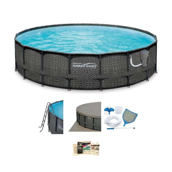 "P4A02048B167 + QLC-57610 Summer Waves Elite Wicker Print 20' x 48"" Frame Pool w/ Pump & Winterizing Kit"