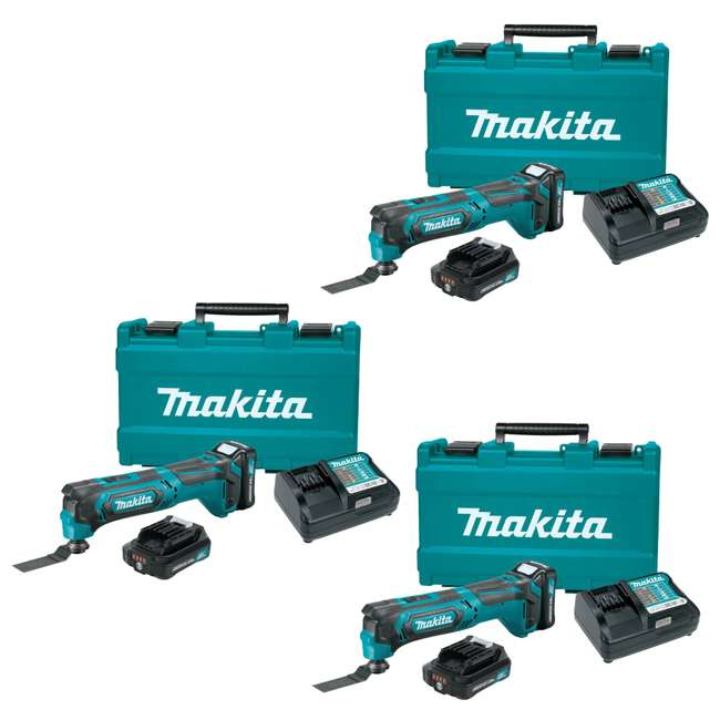 3 x MT01R1 Makita 12V Cordless Multi-Tool with Batteries + Charger (3 Pack)