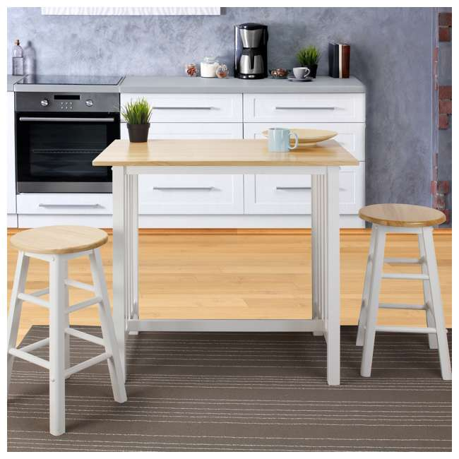 124-91 Casual Home 3 Piece Solid Wood Pub Style Breakfast Lunch Cart Island Set, White  6