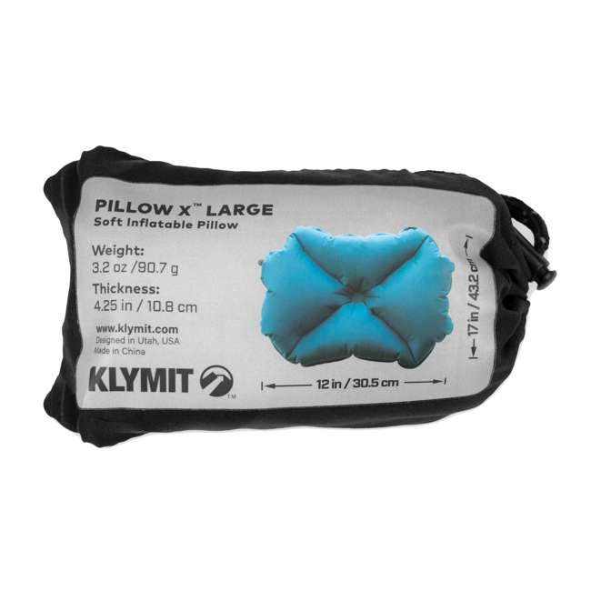 12PLTL01D Klymit Pillow X Large Soft Inflatable Camping Pillow, Teal 3
