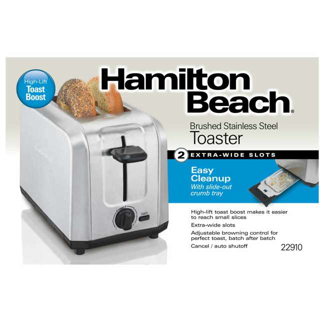 22910 Hamilton Beach 22910 Brushed Stainless Steel 2 Slice Countertop Toaster, Silver 4