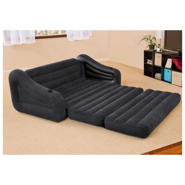 68566EP Intex Inflatable Queen Size Pull Out Futon Sofa Couch Sleep Away Bed, Dark Gray 3