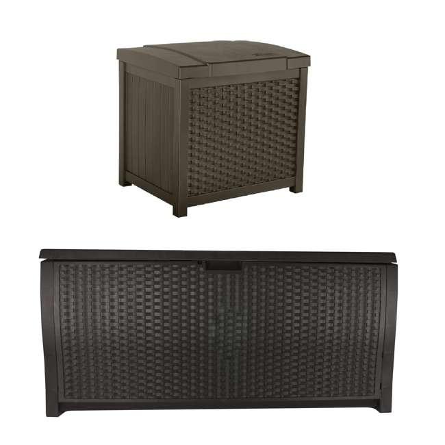 SSW900 + DBW9200 Suncast 22 Gallon Wicker Deck Box w/ Suncast 99 Gallon Wicker Resin Deck Box