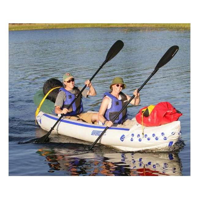 SE370K-DELUXE-OB Sea Eagle 370 Kayak - Deluxe 3 Person Inflatable Boat w/ Paddles 4
