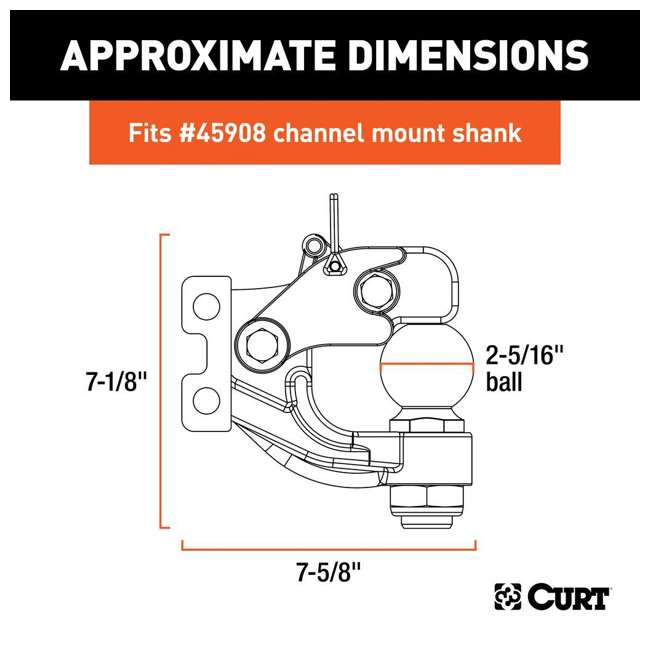 45922 Curt 45922 2 5/16 In 20K LB Replacement Channel Mount Ball & Pintle Combination 2