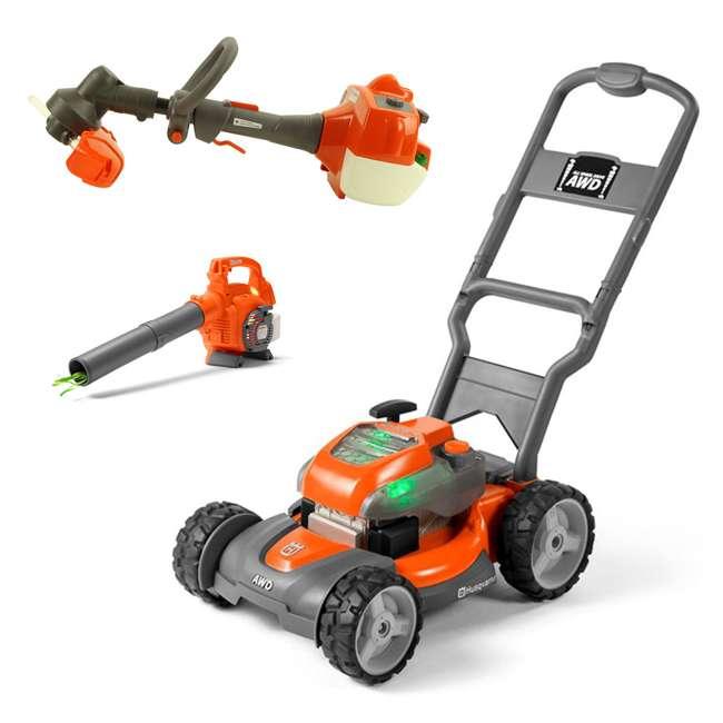 589289601 + 589746401 + 585729102 Husqvarna Toy Lawn Mower, Orange + Leaf Blower + Lawn Trimmer