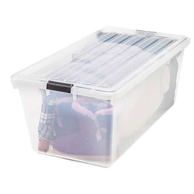 100201 IRIS Large 91 Qt Buckle Down Storage Caddy Bin Tote Container with Lid (2 Pack) 2