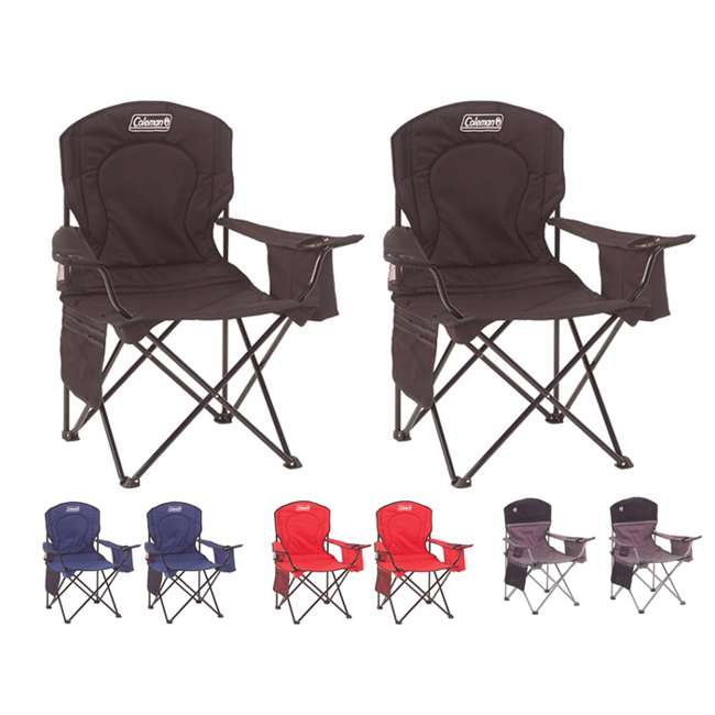 Coleman Camping Outdoor Oversized Quad Chair With Cooler
