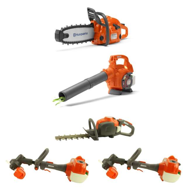 HV-TOY-522771104 + HV-TOY-589746401 + HV-TOY-58572 Husqvarna Toy Chainsaw, Leaf Blower, Hedge Trimmer and Lawn Trimmer (2-Pack)