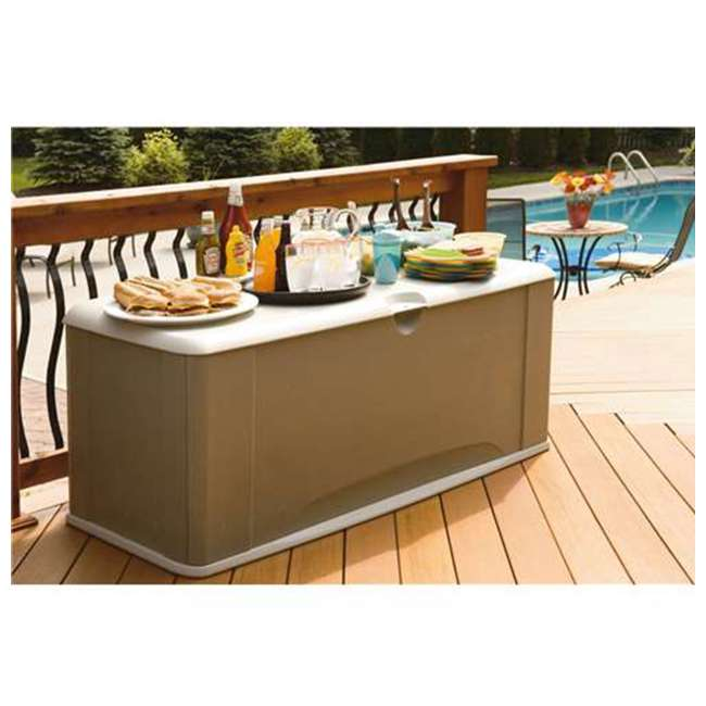 2047052 Rubbermaid Horizontal 16 Cubic Feet Storage Deck Box with Seat 3