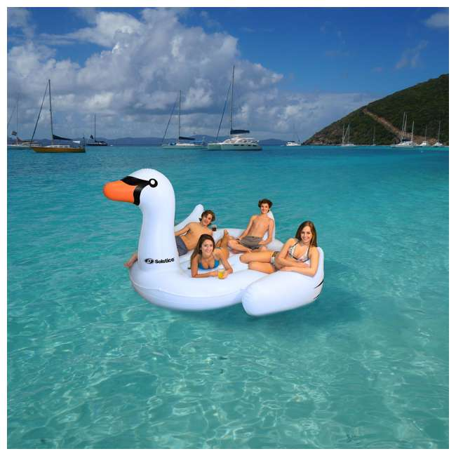6 x SL-19671-U-A Swimline Giant Swan Inflatable Ride On Pool Float Raft, White (Open Box)(6 Pack) 2