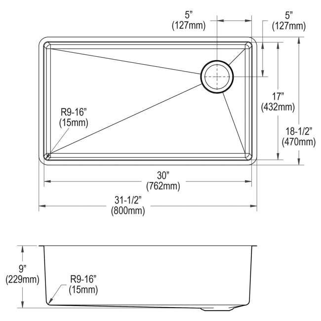 ECTRU30179RT-OB Elkay Crosstown 31-Inch Rectangular Undermount Single Bowl Sink (Open Box) 4