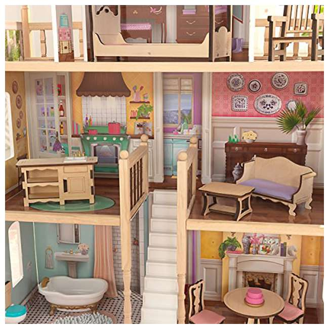 KDK-65956-U-A KidKraft Charlotte Children's Toy 4' Dollhouse w/ EZ Kraft Assembly (Open Box) 4