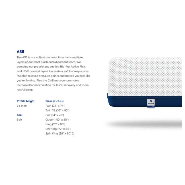 AS5-TXL Amerisleep AS5 Soft Feel Bio Core Plush Foam Active Flex Twin XL Mattress, White 6