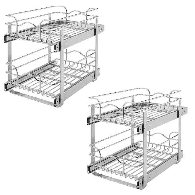 """5WB2-1522-CR Rev-A-Shelf 15"""" Wide 22"""" Deep Base Kitchen Cabinet 2 Tier Pull Out Wire Basket (2 Pack)"""