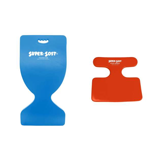 8601326 + 8590148 TRC Recreation Foam Floating Saddle Seat Chairs, Bahama Blue and Caribbean Coral