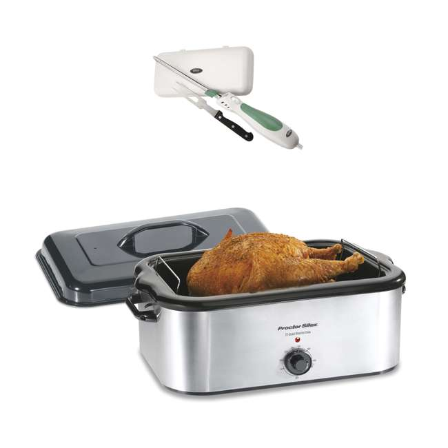 32230A + FPSTEK2802 Proctor Silex 22-Quart Stainless Steel Roaster Oven and Electric Knife Kit