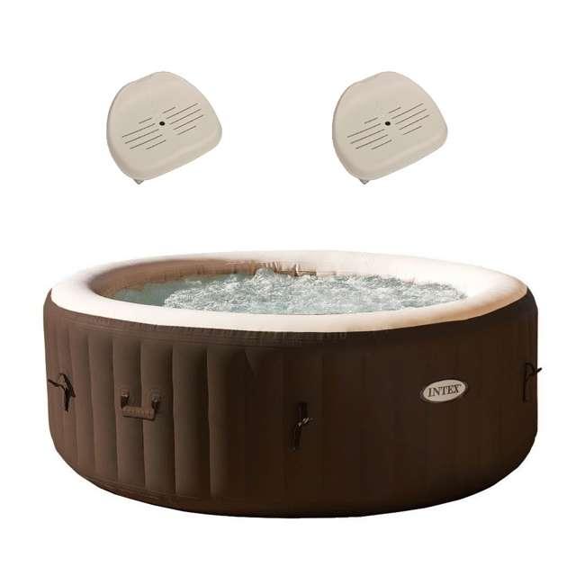 28403VM + 2 x 28502E Intex PureSpa Massage 4 Person Inflatable Hot Tub Spa w/ Hot Tub Seat (2 Pack)