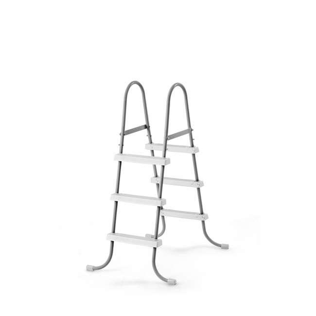 28065E + 87956 Intex Above Ground Steel Frame Swimming Pool Ladder + Pool Ladder Step Pad 1