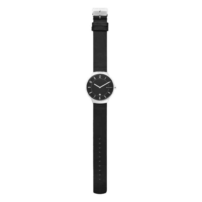 SKW6459-U-A Skagen Grenen 38mm Mens Watch w/ Black Dial & Black Leather Strap (Open Box) 1