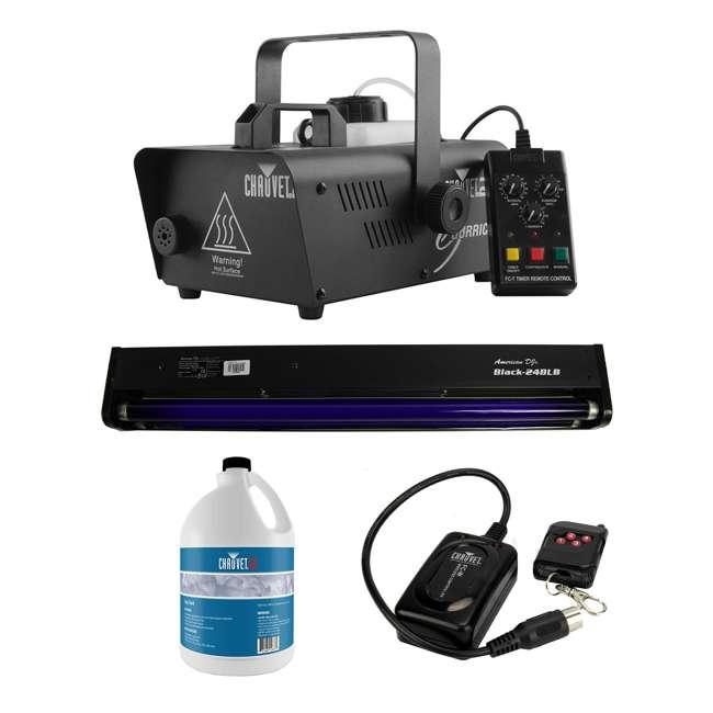 H1600 + BLACK-24BLB + FJU + FC-W CHAUVET DJ Hurricane Fog Machine + Black Light + Fog Juice + Wireless Remote
