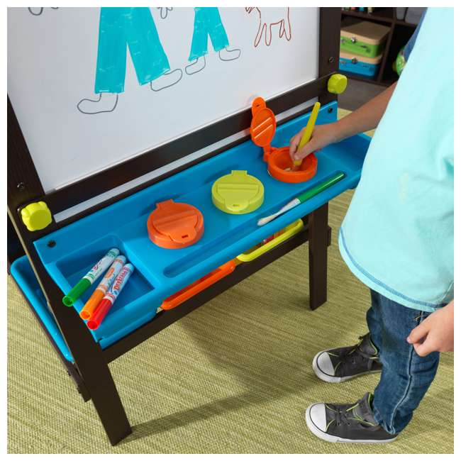 62043 KidKraft Kids Chalkboard & Whiteboard Art Easel with Paper Roll, Espresso 4
