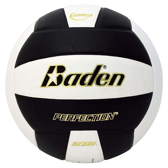 VX5EC-201A Baden Perfection Leather Indoor Play Game Official Size Volleyball, Black/White