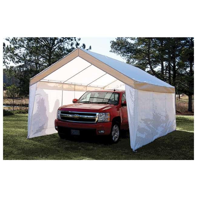 True Shelter 10 X 20 Car Canopy Gazebo Tent Cover Steel Garage Open Box C81220PC3W U A