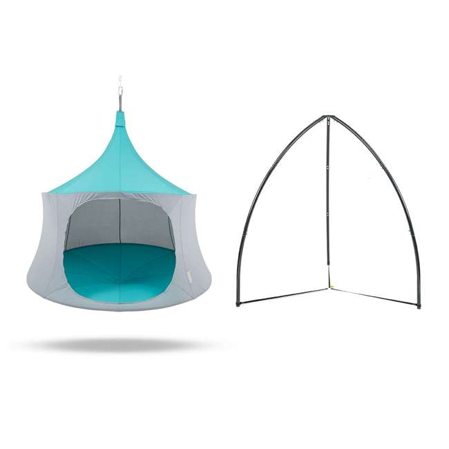TP1600AM + BYHT9001 TreePod Cabana 6' Hanging Mesh Daybed Tent, Aquamarine w/ Stand