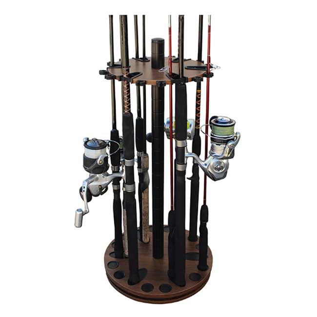 38-3032 Rush Creek Creations 24 Fishing Rod Spinning Round Storage Rack, Dark Walnut