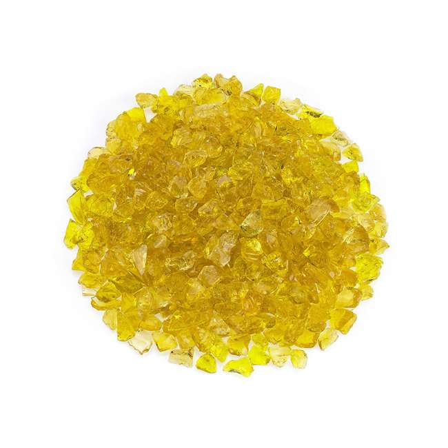 CG-YELLOW-S-10 American Fireglass 10 LB Bag 1/2 Inch Reflective Fireplace & Pit Glass, Yellow