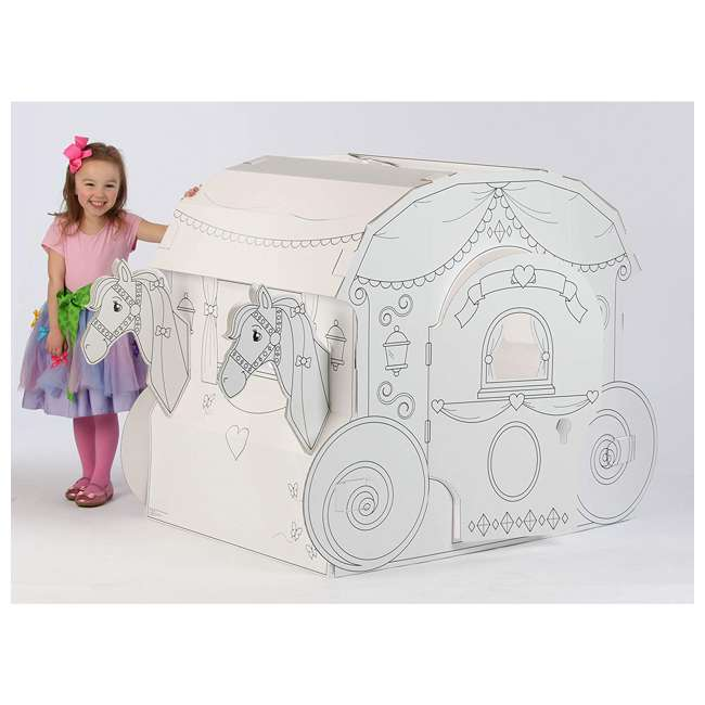 PC5536R My Very Own House Life-Size Coloring Playhouse Princess Carriage w/ 8 Markers 1
