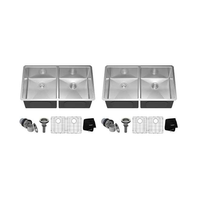 KHU102-33 Kraus 33-Inch Undermount Double Stainless Steel Kitchen Sink (2 Pack)