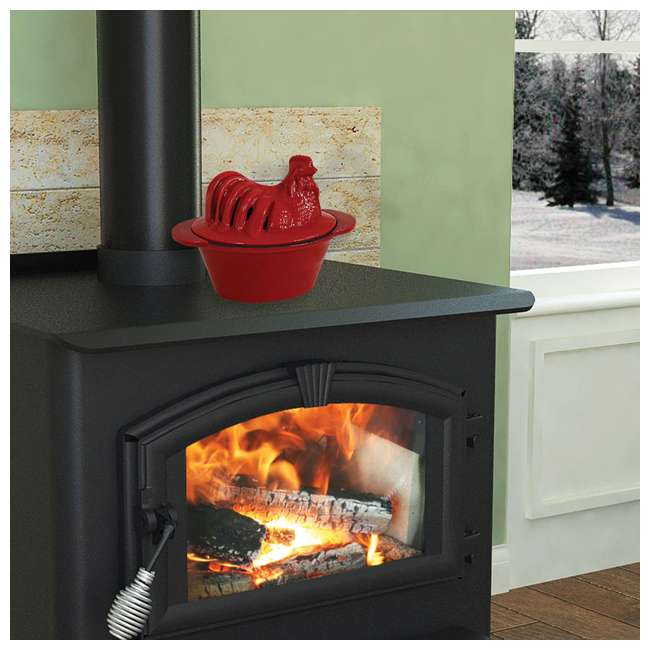 CS-01R US Stove 1 Quart Enamel Cast Iron Wood Stove Chicken Steamer Humidifier, Red 5