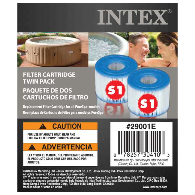 28502E + 3 x 29001E Intex Pure Spa Hot Tub Seat (2 Pack) + Type S1 Filters (6 Count) 10