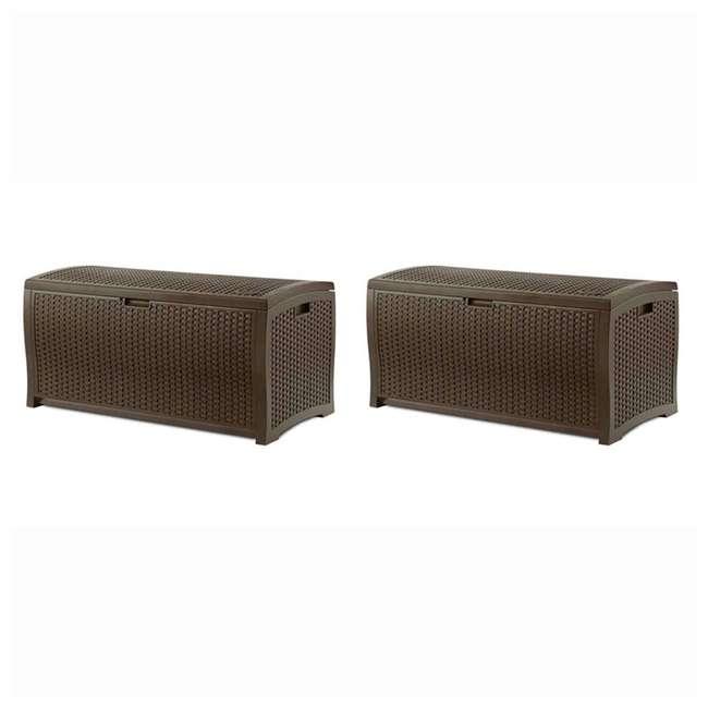 DBW7300 Suncast 73 Gallon Mocha Wicker Resin Outdoor Patio Storage Deck Box (2 Pack)