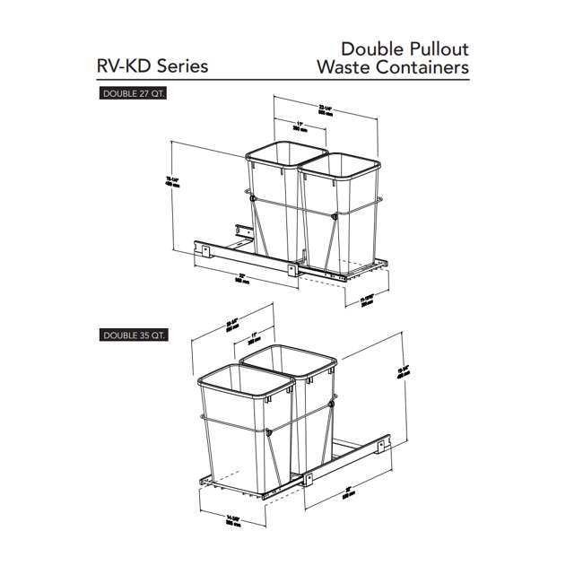 RV-15KD-18C S-30 Rev-A-Shelf RV-15KD-18C S Double 27 Quart Pullout Waste Bin Container, Chrome 4