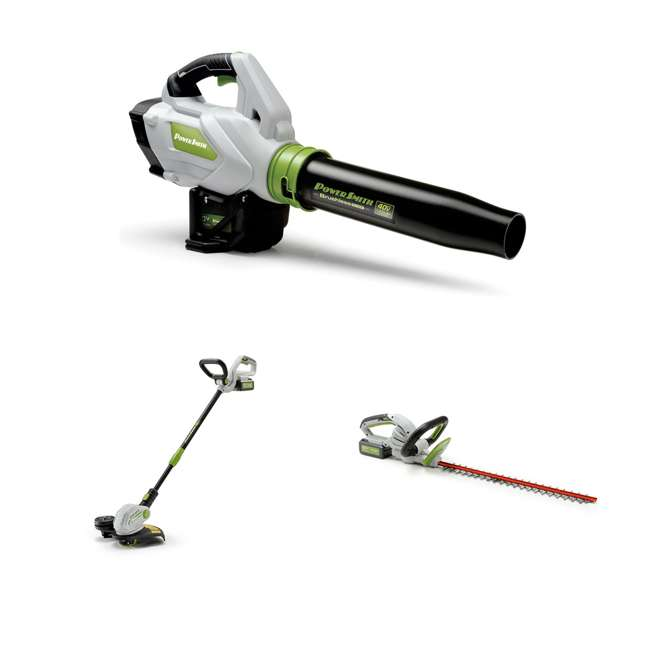 PBL140JH + PGT140 + PHT140 PowerSmith Leaf Blower + Trimmer and Edger + 24 Inch Hedge Trimmer