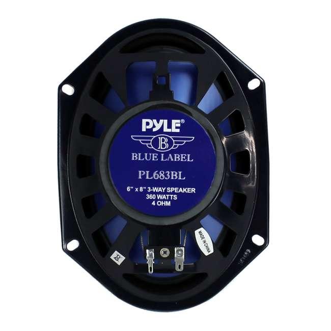 PL683BL Pyle PL683BL Blue Label 6x8-Inch 360W 3-Way Speakers (Pair) 3