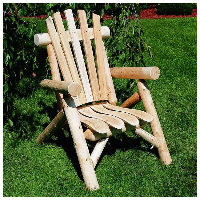 CF1126 Lakeland Mills Country Cedar Log Wood Outdoor Porch Patio Lounge Chair, Natural 1