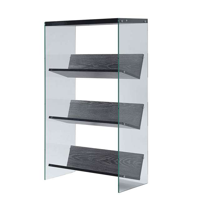 R4-0335 Convenience Concepts SoHo 4-Tier Bookcase, Weathered Gray/Glass 1
