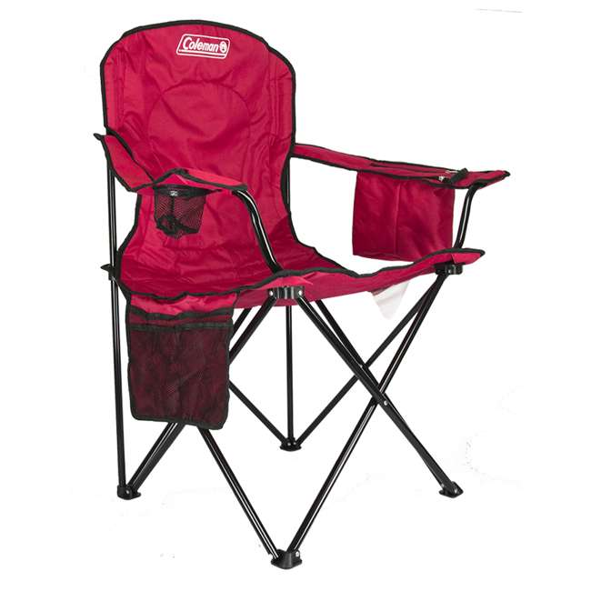 2000032009 + 2 x 2000032008 Coleman Folding Chair w/ Cooler & Cup Holder, Red & Blue (4 Pack) 2